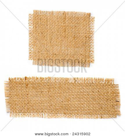 Burlap hessian square with frayed edges isolated on white background