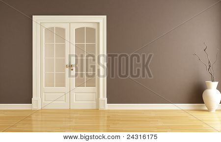 Empty Interior With Sliding Door