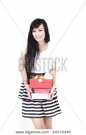 Pretty Woman Carrying Gifts