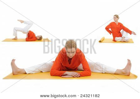 Collage Yoga Photos. Young Woman Stretching
