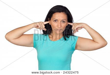 Sad woman covering her ears isolated on white background