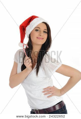Funny Pretty Casual Santa Claus Woman With Red Christmas Hat. Isolated On White Background
