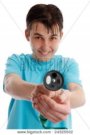Cheeky Boy Pointing A Garden Hose