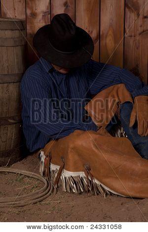 Cowboy Sit By Barrel
