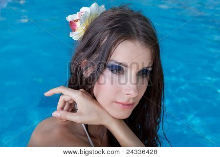 The Beautiful Girl In Pool