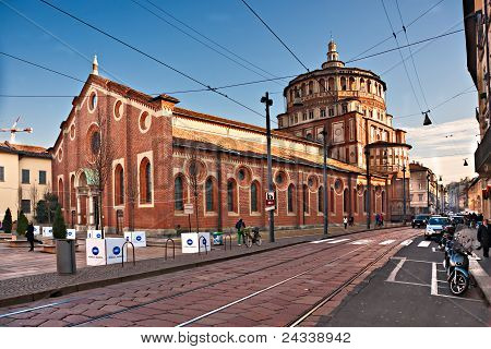 Milan - December 11: Santa Maria Dlle Grazie. The Church Contains The Mural Of Last Supper By Leonar