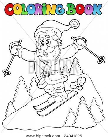 Coloring book Santa Claus topic 3 - vector illustration.