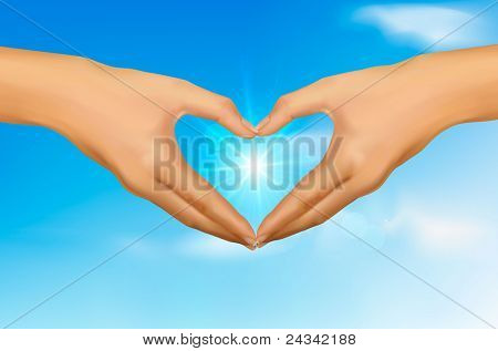 Love concept. Two hands making the form of heart in front of the blue sky with sun. Vector illustration.