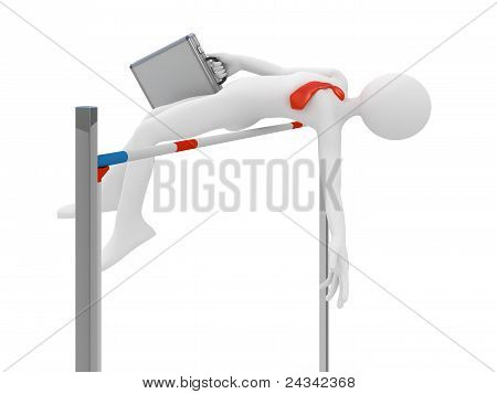 Businessman Jump Over Obstacle