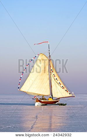 Ice sailing on the Gouwzee in the Netherlands in winter