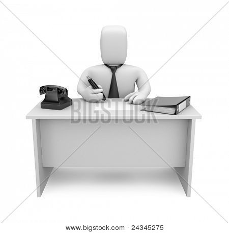 Businessman works. Image contain clipping path