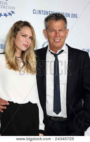 .LOS ANGELES - OCT 14:  David Foster, daughter arriving at the Clinton Foundation