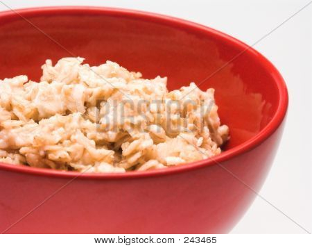 Plain Bowl Of Oatmeal Close View
