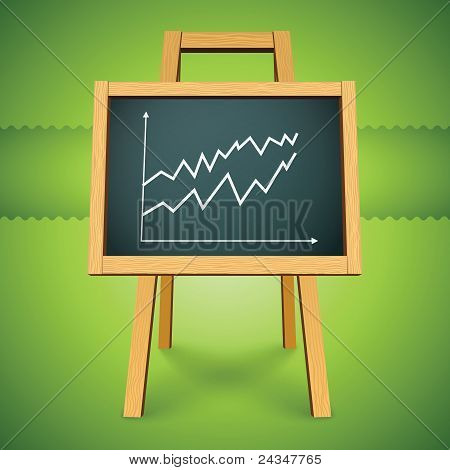 Vector chalkboard with finance business graph