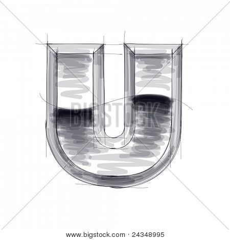 3d metal letters sketch - U. Bitmap copy my vector