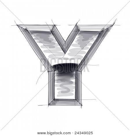 esboço de metal letras 3D - Y. Bitmap copiar meu vetor