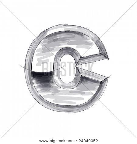 3d metal letters sketch - C. Bitmap copy my vector