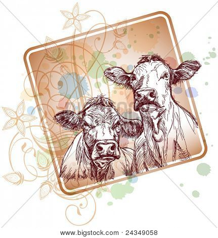 two cows hand draw sketch  & floral calligraphy ornament - a stylized orchid, color paint background. Bitmap copy my vector ID 71330386