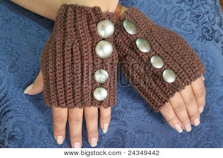 Fingerless Gloves with Silver Buttons