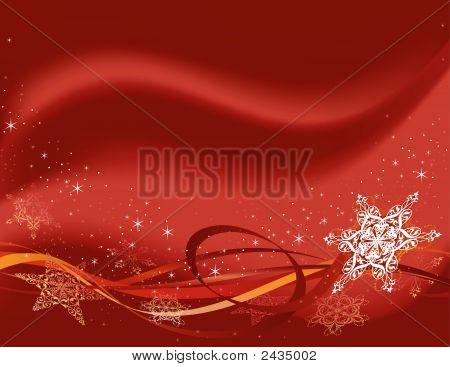 Horizontal Red Snowflake.Eps