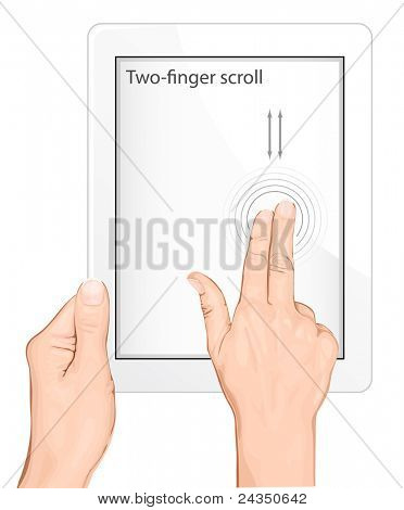Vector multi-touch gesture for tablets & smartphone. Two-finger scroll gesture