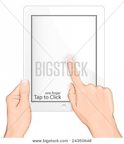 Vector multi-touch gesture for tablets & smartphone. Tap to Click