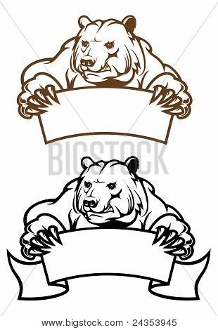 Wild Kodiak Bear With Banner