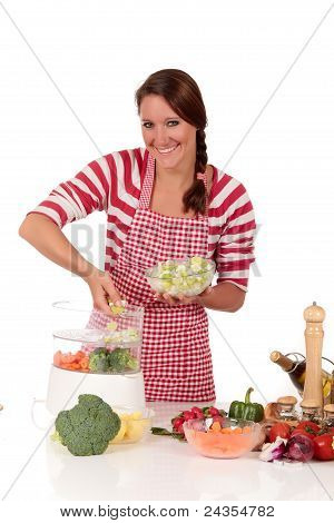Woman Kitchen Vegetables