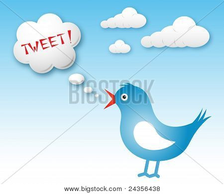 Vogel und Text Cloud mit Tweet