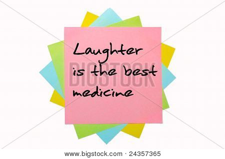 "Proverb ""laughter Is The Best Medicine"" Written On Bunch Of Sticky Notes"