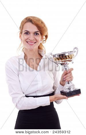 Woman Winning A Silver Cup