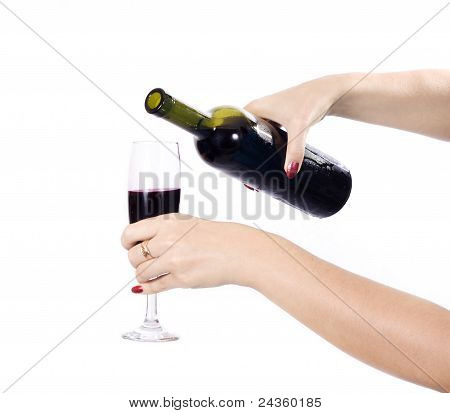 Wine Being Poured Into Wine Glass