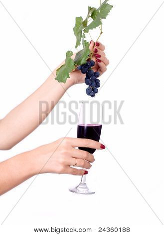 Glass Of Wine And Grapes