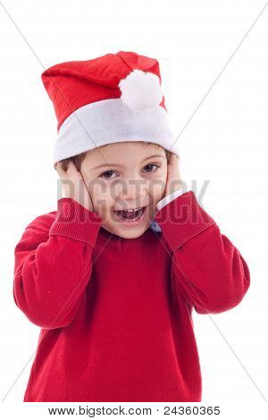 Santa Boy Covering His Ears