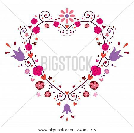 heart frame with flowers