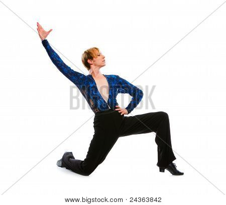 Ballroom Male Dancer Posing On One Knee On White Background