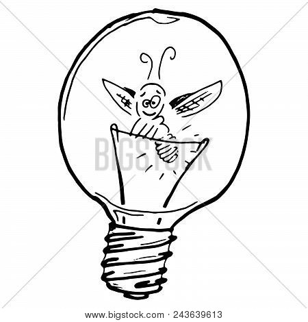 Vector Firefly In Light Bulb