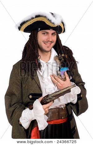 Man In A Pirate Costume With Small Dog