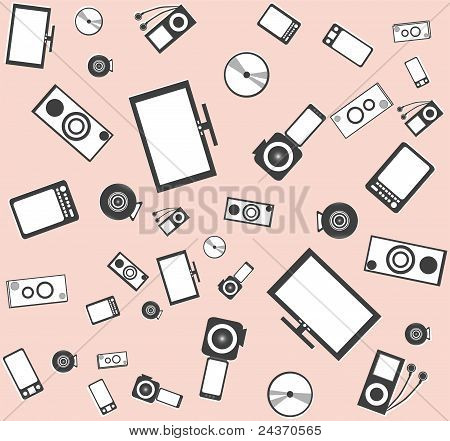 Electronic background texture from many objects vector