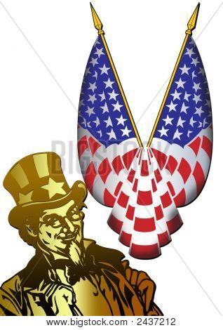 Uncle Sam And Flag