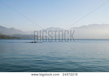 Two Rowers On Lake Annecy