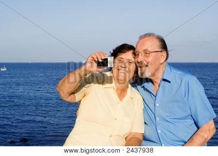 Happy Smiling Senior Couple On Vacation