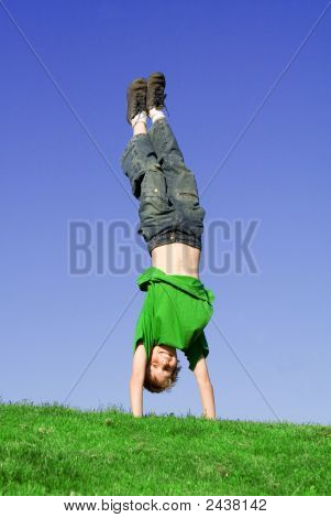 Fit Healthy Child Playing Handstand