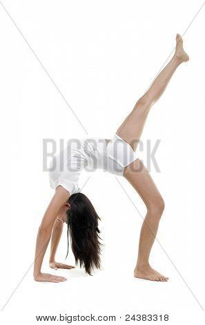 Woman in yoga, One Legged Upward Facing Bow Pose (Eka Pada Urdhva Dhanurasana), on white background