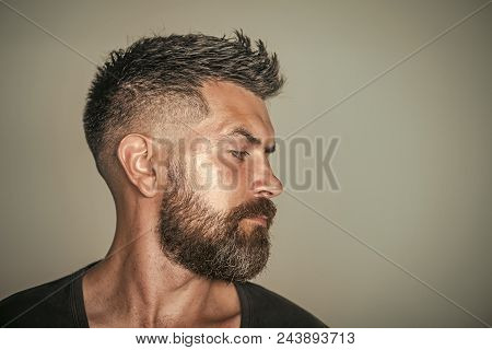 poster of Barber Shop. Hair Style. Man With Bearded Face Profile And Stylish Hair Pose On Grey Background. Bar