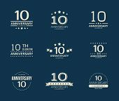 10 - Year Anniversary Celebrating Logotype. 10th Anniversary Logo Set. poster
