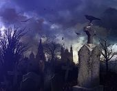 stock photo of burial  - Halloween night scene in a spooky graveyard - JPG