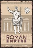 Vintage Roman Empire Poster With Inscription Julius Caesar Coins On Buildings Of Ancient Rome Civili poster
