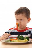 Boy And Cooked Vegetables poster