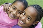 foto of happy kids  - happy sisters - JPG